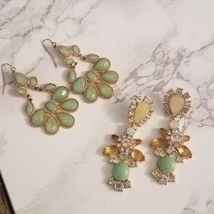 Jewelry - ** 2 ** green dangle statement earrings